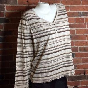 LRL Lauren Jeans Co. Knit Striped Top Beige Brown