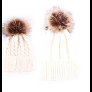 Accessories - White Matching Mom and Baby Pom Pom Hats 71f8bb31418