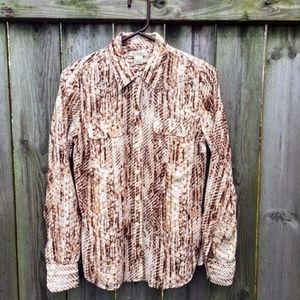 Lucky Brand Button Down Shirt Brown White Size S