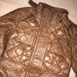 Eddie Bauer quilted tan leather military jacket xs