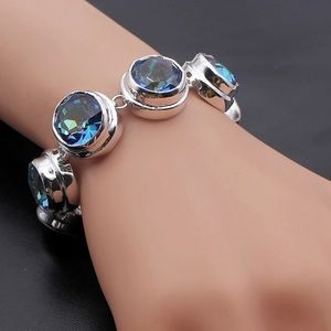 Mystic Topaz Zircon Silver Statement Bracelet