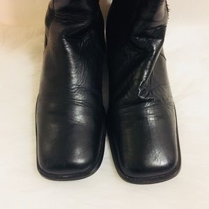 Shoes - Black Leather Tall Boots