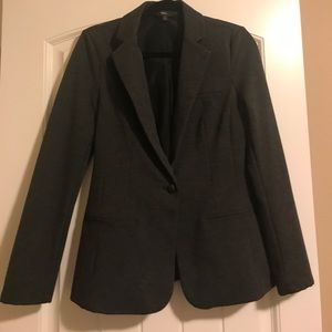 Gray blazer with faux leather button detail