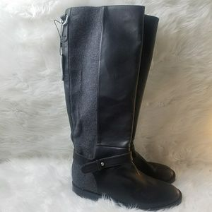 Zara Black Gray Tall Riding Boots