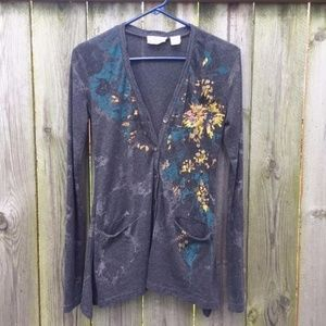 Miss Me Gray Cardigan Sweater Embellished Size S