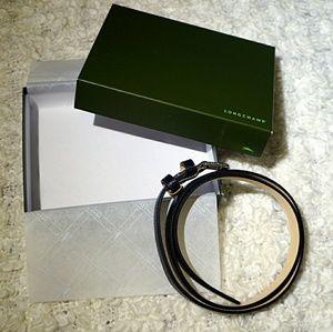 NEW Longchamp black leather belt