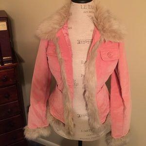 BB Dakota Pink Velvet Blazer with Faux Fur