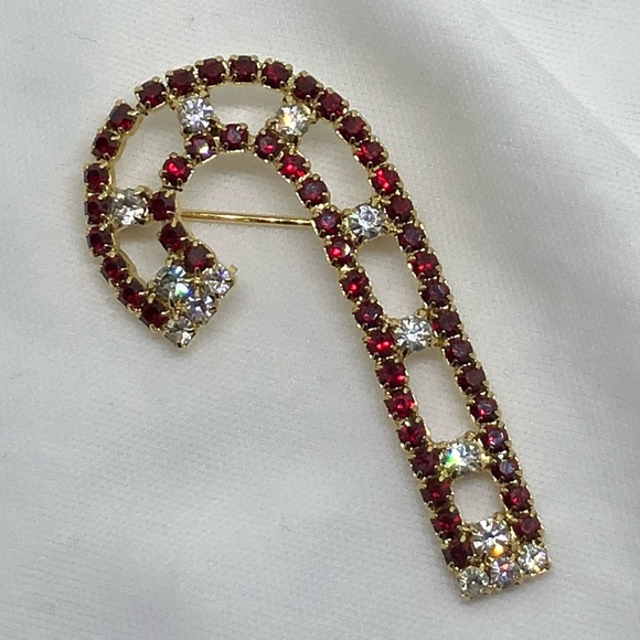 Vintage Jewelry - Vintage Rhinestone Candy Cane Pin