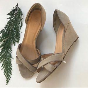 J.CREW new Greta suede sandal wedges sandstone