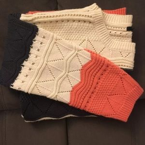 Tricolor oversized knit sweater