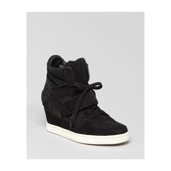 4f0536a2e46e Ash Shoes - Ash Women s Black Cool Mesh Suede Wedge Sneakers