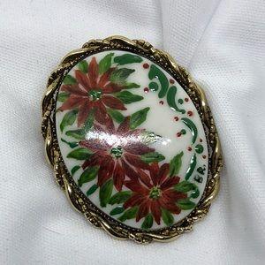 Vintage Jewelry - Vintage Porcelain Poinsettia Pin