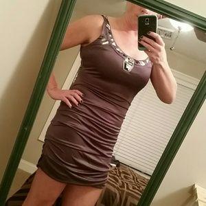 Gunmetal / purple tank ruched dress