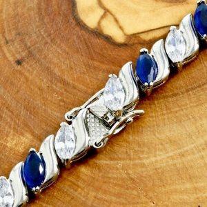 Jewelry - 15.75ctw 14k WGF Blue/White Sapphire Bracelet