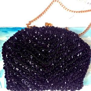 Vintage Black Beaded Handbag Purse Evening Bag