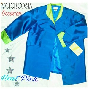 NWT Thin Silk blue Victor Costa jacket