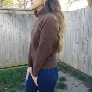 Vintage Sweaters - 💐Brown Mock Neck Knit Sweater