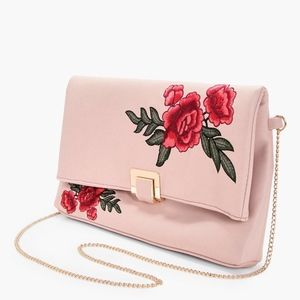 Handbags - Rose Embroidered Blush Clutch