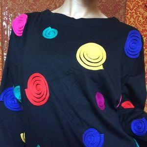 Vintage Tops - Vintage Rainbow String Fibonacci Swirl Tunic