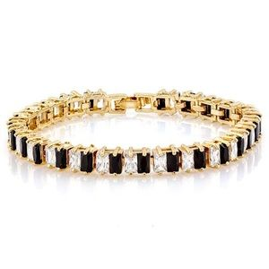 Jewelry - 17.50ctw 14k YGF Black/White Sapphire Bracelet