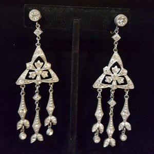 Jewelry - Vintage 1920's screw back drop rhinestone earrings