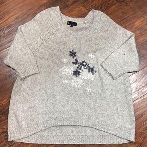 Lane Bryant Gray beaded snowflakes sweater 22 / 24