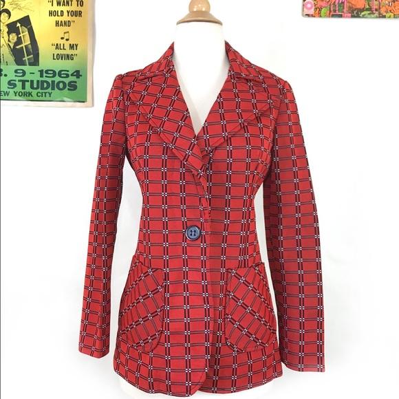 Vintage Jackets & Blazers - Vintage 60s mod op art suit jacket retro blazer SM