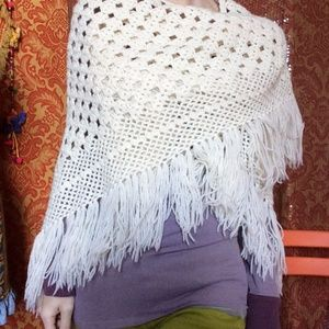 Vintage Sweaters - Stunning Knit Fringe 70's Shawl Artsy Scarf