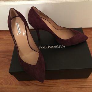 NEW Emporio Armani burgundy suede heels