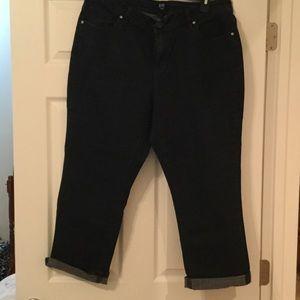 Dark wash crop jeans