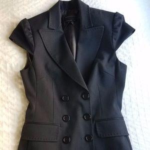 NWOT BCBG Navy Wool Blend Military Style Long Vest