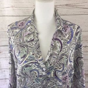 -212 Collection- Paisley Button Down Shirt Top