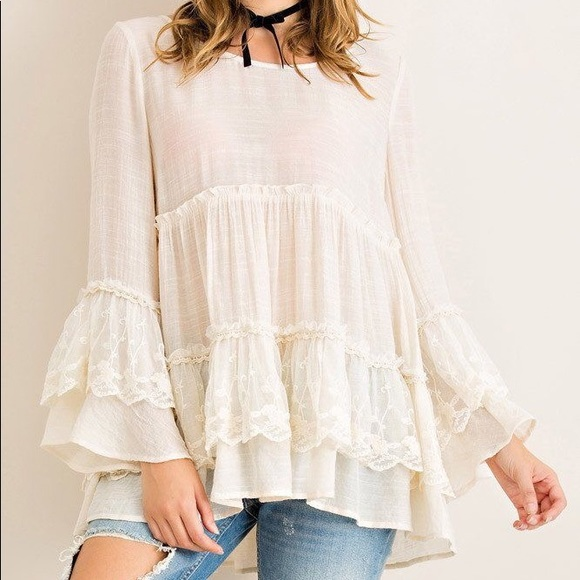 Women/'s Plus Size Ivory Boho Inspired Long Sleeve Top with Lace Accents 1XL NWT