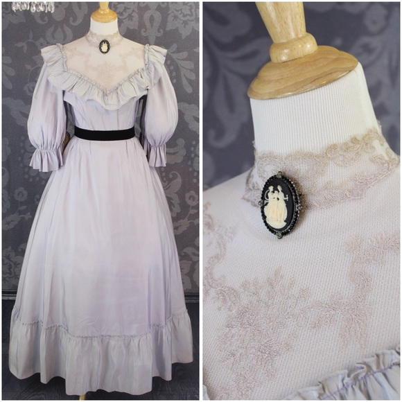 Vintage Dresses - 1970 VINTAGE VICTORIAN STYLE LONG BALL GOWN