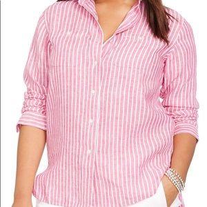 Tops - RALPH LAUREN 100% linen pink white button down XL