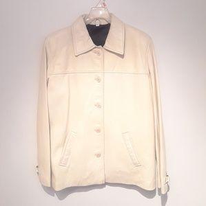 Jackets & Blazers - 100% Off White Leather Jacket Women Size M