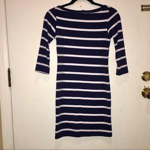 Soprano Navy & White Striped Bodycon Dress