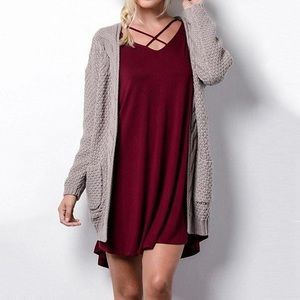 Cable Knit Open Front Cardigan with Pockets Mocha