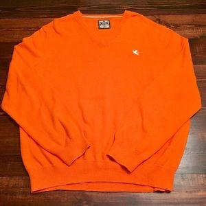 Men's Orange Express V-Neck Sweater