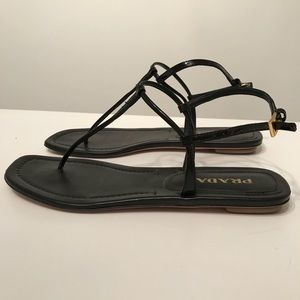 Prada Black Leather Patent T Strap Sandal 38.5 8