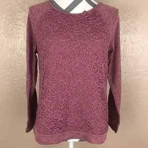 Pink Lace Front Long Sleeve Sweater