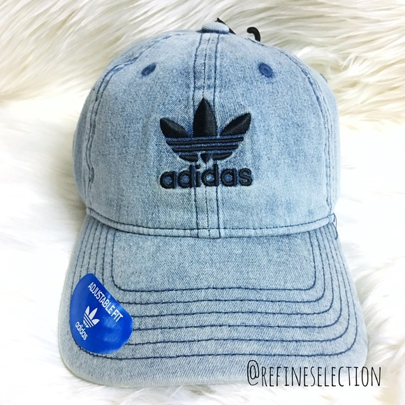 Adidas Trefoil Washed Blue Denim Relaxed Dad Hat 828df89dad4