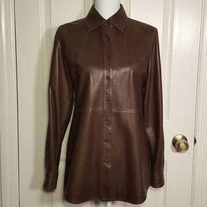 Façonnable Brown Lambskin Leather Shirt Jacket