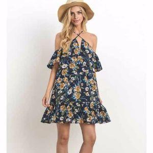 958d318173 New Floral Printed Cold Shoulder Mini Dress