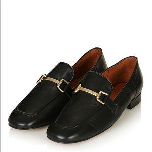 Topshop Karter Loafer Black w/ gold buckle shoe