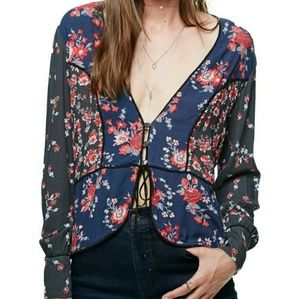 """Free People """"The Way the World Turns"""" Blouse"""