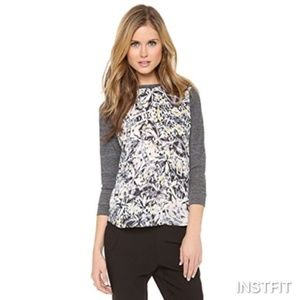 Rebecca Taylor Silk Diamond Raglan Baseball Tee 8