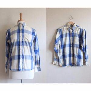 Vintage Diane von Furstenberg DVF Blue Plaid Shirt