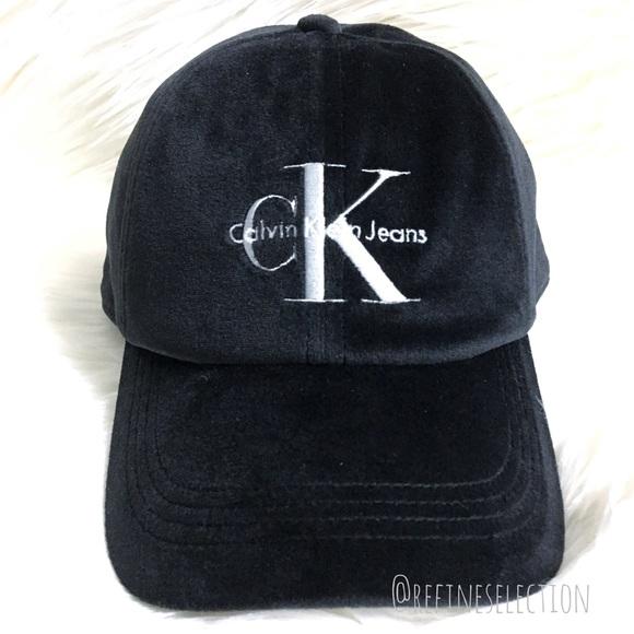 Calvin Klein Black Velour Velvet Snapback Hat 6866fae70