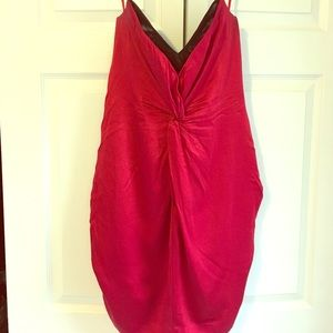 Reiss red silk strapless dress